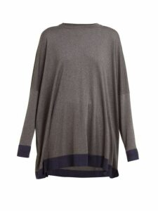 Eskandar - Contrast-trim Knitted Silk Sweater - Womens - Grey Navy