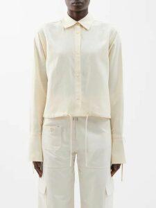 Lanvin - Draped Overlay Silk-chiffon Dress - Womens - Black