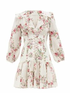 Zimmermann - Honour Floral Print Corset Linen Mini Dress - Womens - Cream