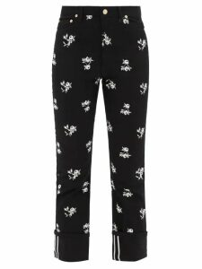 Ganni - Roll-neck Gingham-mesh Top - Womens - Black White