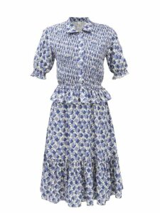 Dolce & Gabbana - Lily-print Fluted Cady Dress - Womens - Pink Multi