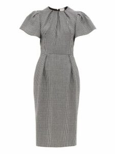 Alexander Mcqueen - Houndstooth Puffed Sleeve Wool Midi Dress - Womens - Black White
