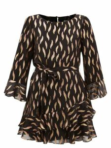 Pleats Please Issey Miyake - Window Glass Print Pleated Dress - Womens - Beige