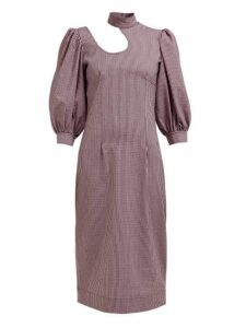 Ganni - Striped Cotton-blend Seersucker Midi Dress - Womens - Pink