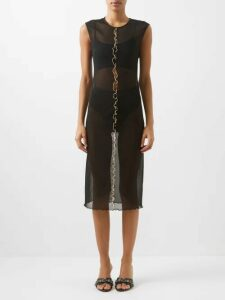 Msgm - Ruffle-trimmed Charmeuse Dress - Womens - Red