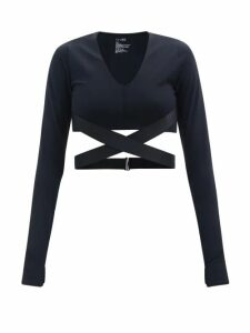 Dolce & Gabbana - Lily-appliqué Cropped Silk Sweater - Womens - Green