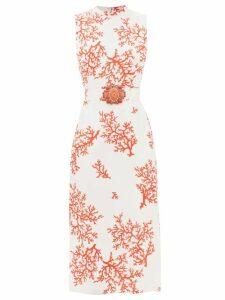 Albus Lumen - Lerache Textured-button Linen Mini Shirtdress - Womens - White