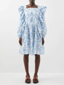 Molly Goddard - Sydney Ruffle-trimmed Smocked Cotton Top - Womens - Red