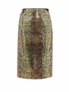 No. 21 - Fantasia Sequinned Snake-pattern Pencil Skirt - Womens - Multi