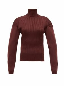 Bottega Veneta - Cut-out Roll-neck Ribbed Silk Sweater - Womens - Burgundy