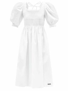 The Attico - Faux Pearl Trimmed Ostrich Feather Top - Womens - Blue