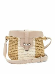 Khokho - Jabu Leather-trimmed Mini Basket Bag - Womens - White Multi
