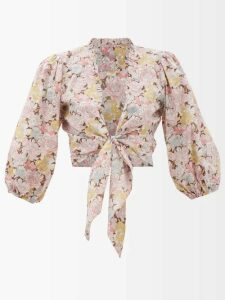 Mm6 Maison Margiela - Logo-print Cropped Cotton-jersey T-shirt - Womens - Grey