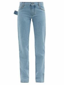 Chloé - Smocked And Ruffle-shoulder Crepe Blouse - Womens - Light Pink