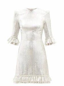 Ganni - Leopard And Moon Print Cotton Mini Dress - Womens - Blue Multi
