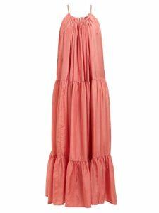 Kalita - Genevieve Tiered-silk Maxi Dress - Womens - Pink