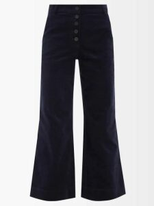The Vampire's Wife - Cate Ruffle Trim Corduroy Cotton Midi Dress - Womens - Beige