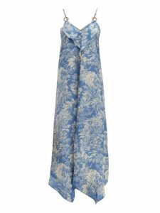 Belize - Sada Tropical-print Satin Midi Dress - Womens - Blue Print