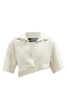 Norma Kamali - Tiered-fringe Stretch-jersey Crop Top - Womens - Green