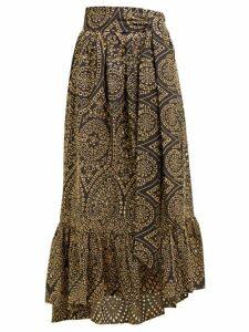 Lisa Marie Fernandez - Nicole Broderie-anglaise Cotton Midi Skirt - Womens - Black Gold
