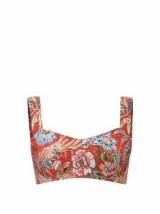 Malone Souliers - Imogen T Bar Satin Mules - Womens - Burgundy