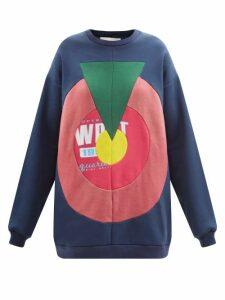 Self-portrait - Leopard-print Satin-jacquard Midi Dress - Womens - Black White