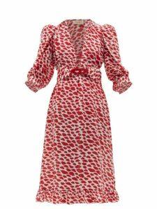 Adriana Degreas - Bacio Lips-print Silk Crepe De Chine Dress - Womens - Red White