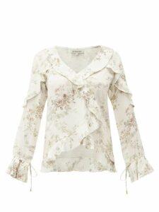 D'ascoli - Bedford Floral-print Ruffle-trim Silk Top - Womens - Beige