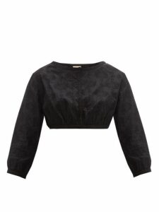 Le Sirenuse, Positano - Jinny Embroidered Cotton Crop Top - Womens - Black