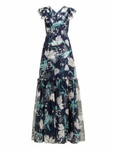 Erdem - Franceline Leighton Print Ruffled Silk Gown - Womens - Navy Print