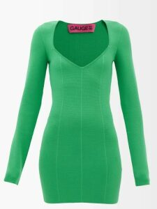 Self-portrait - Leopard Print Asymmetric Satin Mini Dress - Womens - Black White