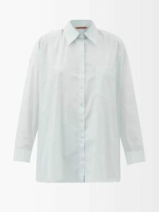 Msgm - Ruffled Pussy Bow Satin Blouse - Womens - Green