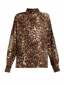 Nili Lotan - Alana Leopard-print Silk Shirt - Womens - Leopard
