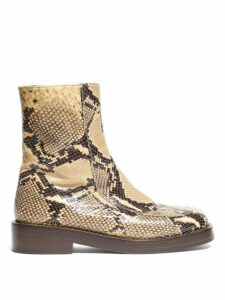 Marni - Python Effect Leather Boots - Womens - Black Beige