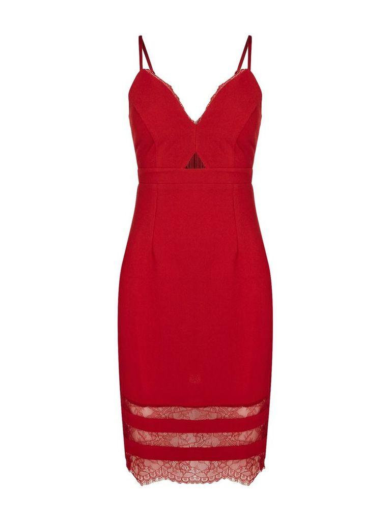 Lipsy Mk lace bottom cami dress, Red