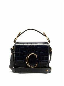 Chloé - The C Mini Crocodile-effect Leather Shoulder Bag - Womens - Navy
