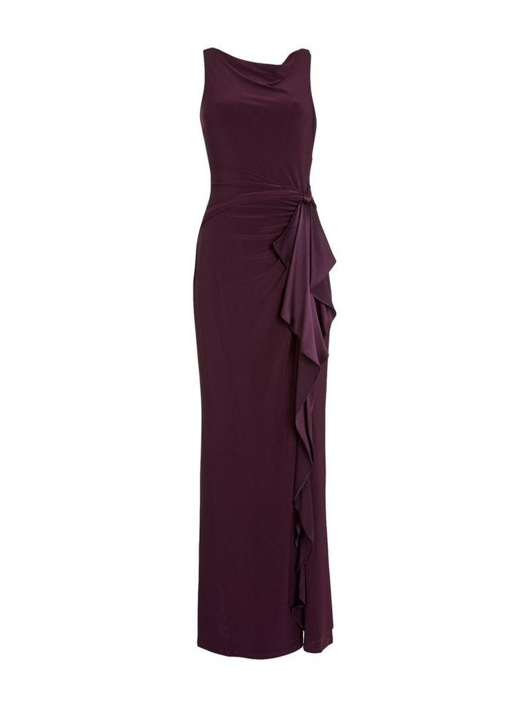 Lauren Ralph Lauren Truly jersey gown with silk tie belt, Brown