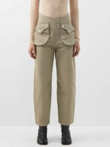 Staud - Guppie Colour Block Crochet Cotton Crop Top - Womens - Navy