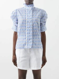 Ganni - Crocodile Effect Leather Western Boots - Womens - Black