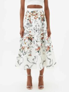 Three Graces London - Dorothea Waist Tie Crinkle Cotton Skirt - Womens - Yellow