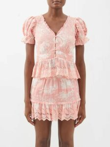 Ann Demeulemeester - Raw-trim Neck Cotton And Cashmere Blouse - Womens - Light Pink