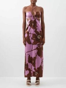 By Walid - Yayoi Floral Print Cotton Tulle Cropped Trousers - Womens - Ivory Multi