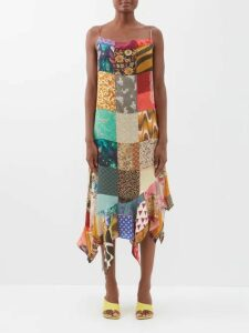 The Vampire's Wife - Veneration Floral Print Silk Charmeuse Midi Dress - Womens - Orange Multi