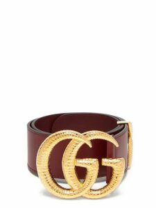Gucci - Gg Snakeskin-effect Logo Wide Leather Belt - Womens - Burgundy
