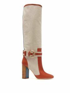 Malone Souliers - X Roksanda Berenice Canvas Boots - Womens - Tan Multi