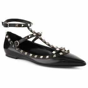 Valentino Women's Black Rockstud Patent-Leather Ballet Flats, Size: EUR 36.5 / 3.5 UK WOMEN