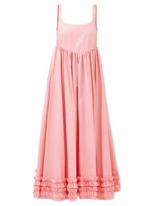 D'ascoli - Bedford Floral Print Silk Dress - Womens - Blue