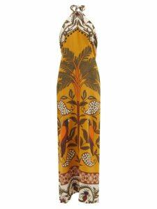 Luisa Beccaria - Ruffled Striped Linen-blend Midi Dress - Womens - Blue Stripe