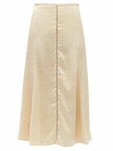 Albus Lumen - Aziza Bias-cut Silk-charmeuse Midi Skirt - Womens - Beige