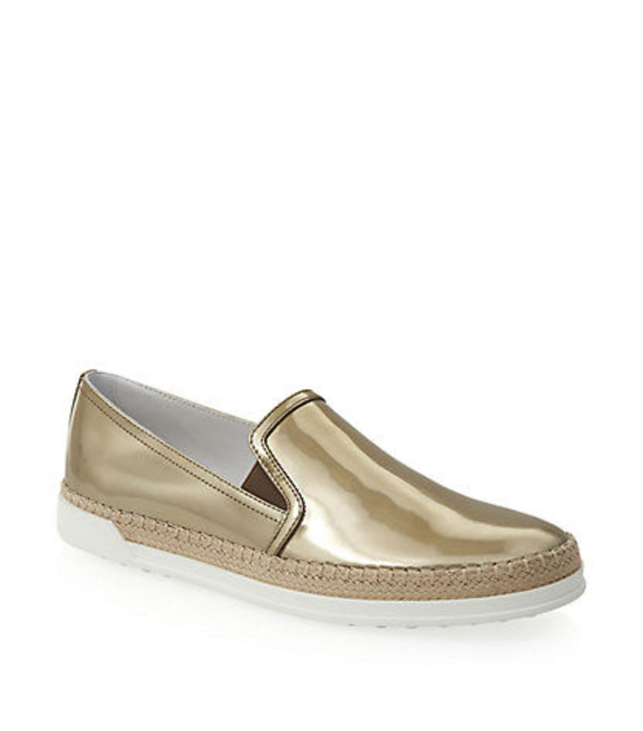 Leather Slip-On Sneaker Gold